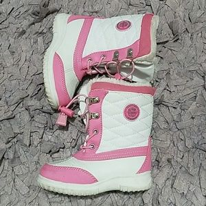 Totes Toddler Girls Quilted Snow Boots Pink White